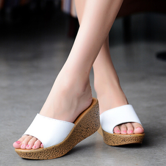 Casual muffin thick bottomed versatile slippers slanted heel slippers (White 003 white)