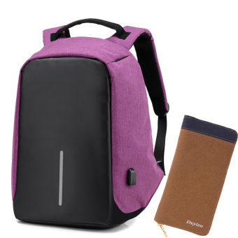 Casual multi-functional travel men's backpack (Purplish red color suit 4)