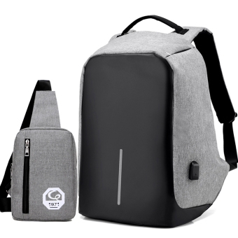 Casual multi-functional travel men's backpack (Senior gray suit 1)