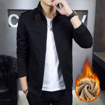Casual New style autumn Slim fit thin jacket (Plus velvet models black)