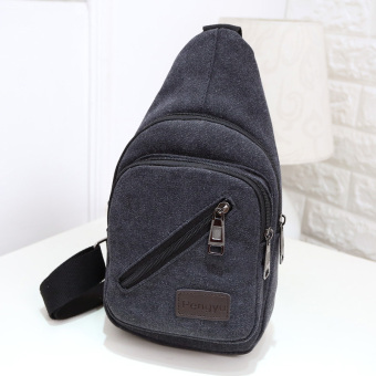 Casual New style messenger bag canvas chest pack (Black.)
