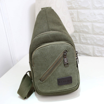 Casual New style messenger bag canvas chest pack (Dark green color.)