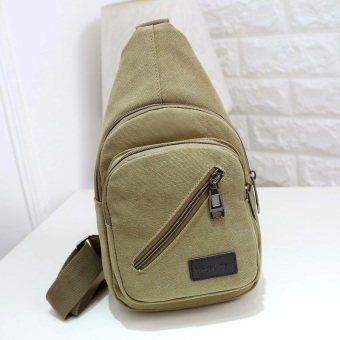 Casual New style messenger bag canvas chest pack (Khaki.)