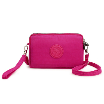 Casual nylon cross-body women's bag women's wallet (Rose color)