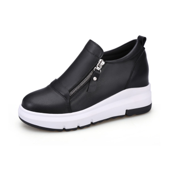 Casual slimming Plus-sized women's shoes female sports shoes (Black)