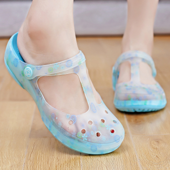 Casual slip flat jelly women's slippers porous shoes (Cardamom light blue)