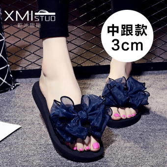Casual slip outerwear sandals slippers (7109 W semi-high heeled black blue Cooljie)
