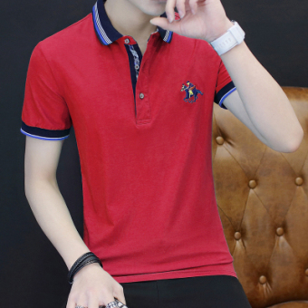 Casual solid color business Fold-down collar polo shirt men's T-shirt (Pink color)
