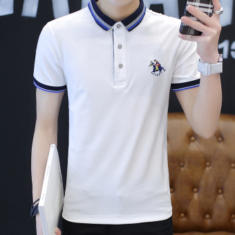 Casual solid color business Fold-down collar polo shirt men's T-shirt (White)