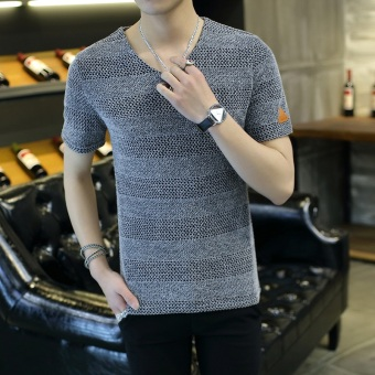 Casual solid color Slim fit V-neck Korean-style Top T-shirt (K04 silver color)