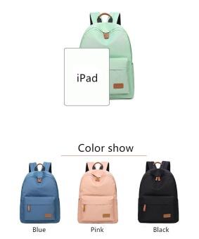 Casual Solid Women Backpack School Bag Large Capacity For Teenagers Girls Simple Travel Bags Lady Back Pack Bagpack (Black) - intl - 5