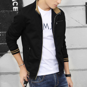 Casual spring young New style men's jacket spring and autumn jacket (Black)