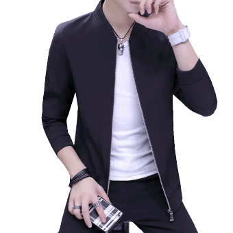 Casual thin section Slim fit Korean-style jacket men's jacket (Black)