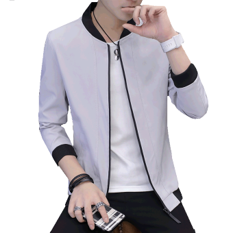 Casual thin section Slim fit Korean-style jacket men's jacket (Gray)