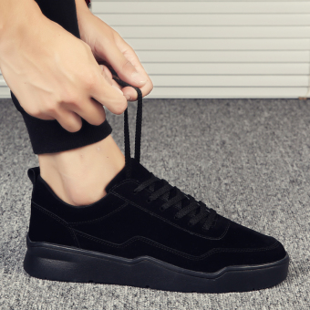 Casual winter New style student shoes thick bottomed elevator shoes (Black)