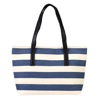 Casual Women Canvas Tote Bag (Navy Blue/White)