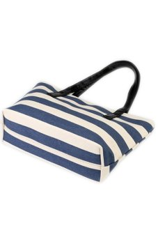 Casual Women Canvas Tote Bag (Navy Blue/White) - picture 2