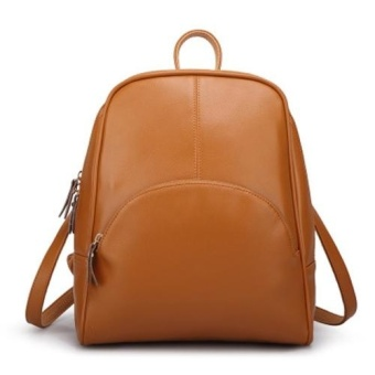Casual Women PU Leather Backpack School Bag (Brown) - intl