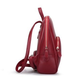 Casual Women PU Leather Backpack School Bag (Red) - intl - 3
