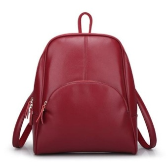Casual Women PU Leather Backpack School Bag (Red) - intl