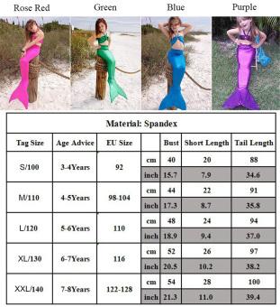 CatWalk 3PCS Girl Kids Mermaid Tail Costume Swimsuit Bikini Set3-8Years (Purple) - 5