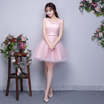 Champagne color New style bridesmaid wedding dress bridesmaid dress (Light pink E Models)