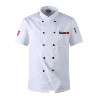 Chef Uniforms Clothing Short Sleeve Unisex Food Services CookingClothes Chef Jacket (White) - intl
