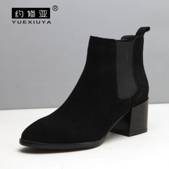 Chelsea women New style small short boots high-heeled shoes (Black [sheep])