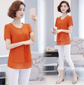 Chemise Femme Womens Clothes Ladies blouses Chiffon Short Sleeve Blouse Shirt casual blusas Plus Size Tops M-4XL 5XL Orange - intl