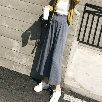 Chic Korean-style female ankle-length wind pants wide leg pants (Blue)