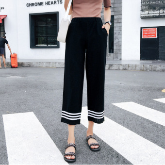 Chic Korean-style New style high-waisted wide leg pants (Foot Mouth striped wide leg pants)