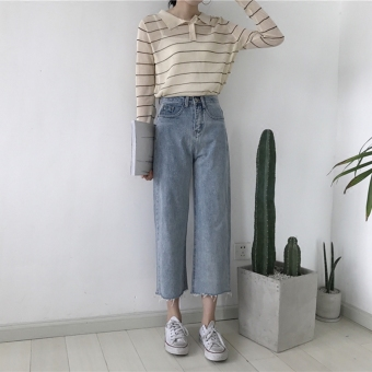 Chic retro light-colored style slimming denim pants