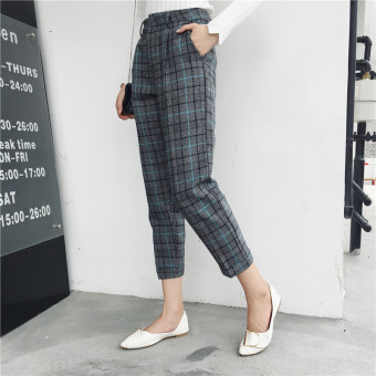 Chic retro student high-waisted plaid casual pants (Blue plaid)