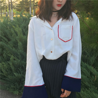 Chic retro style elegant Fold-down collar long-sleeved shirt