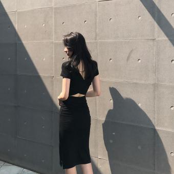 Chic retro style small cross medium-length dress (Black)