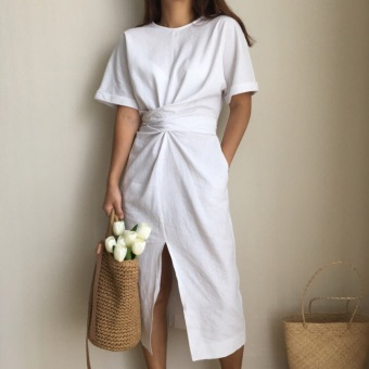Chic style bandage cloth-midi-skirt short sleeved dress (White)