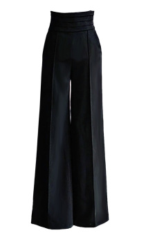Chic Women's Elastic Waist Casual Jogger Lounge Wide Leg PalazzoPants Trousers Size M Black