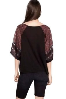 Chicnova Ethnic Style Print Batwing Sleeves T-shirt (Red)