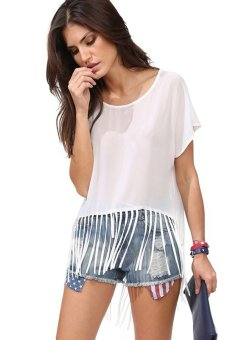 Chicnova Short-sleeve Chiffon Shirt (White)