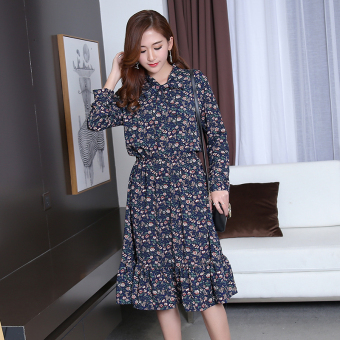 Chiffon floral Slimming effect long section dress Korean-style dress (Dark blue color)