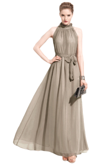 Chiffon Maxi Long Dress (Reseda Green) - picture 2