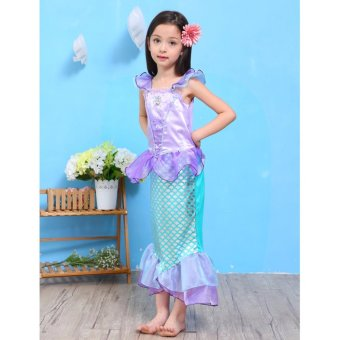 Children Baby Girl Clothes Little Mermaid Fancy Kids Girls Mermaid Dresses Princess Ariel Cosplay Halloween Costume mermaid-tail - intl - 5