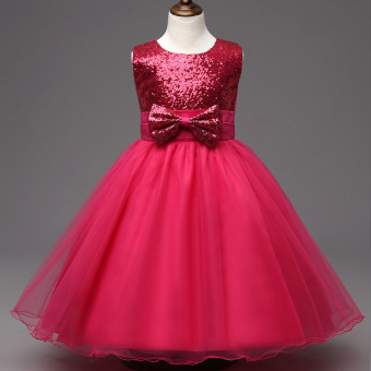 Children Big Bow-knot Sequined Sleeveless Girls Princess TutuWedding Dress (Rose) - Intl