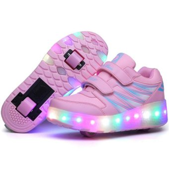 Children LED Roller Skate Shoes With Wheels Kids Shoes Jazzy Junior Sneakers With Two Wheel (Pink) - intl