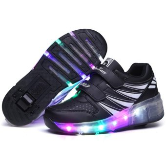 Children LED Roller Skate Shoes With Wheels Kids Shoes Jazzy JuniorSneakers With One Wheel (Black) - intl