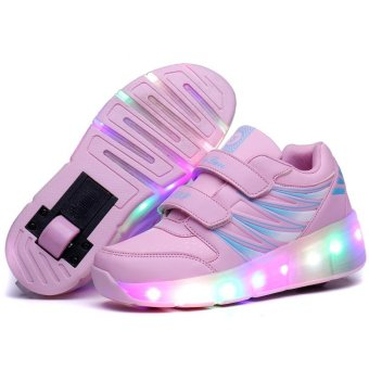 Children LED Roller Skate Shoes With Wheels Kids Shoes Jazzy JuniorSneakers With One Wheel (Pink) - intl