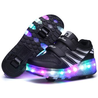 Children LED Roller Skate Shoes With Wheels Kids Shoes Jazzy JuniorSneakers With Two Wheel (Black) - intl