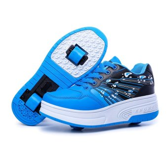 Children Two-wheeled Roller Skate Roller Shoes Sneakers For Boys (blue) Price Philippines