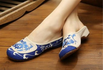 Chinese Embroidered Shoes Women Cotton sandals drag Blue and Green36 - 3