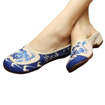 Chinese Embroidered Shoes Women Cotton sandals drag Blue and Green36